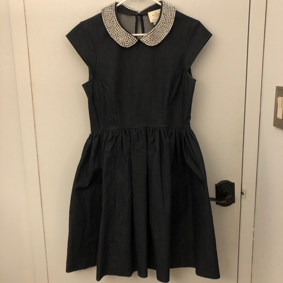 Denim dress with rhinestone collar